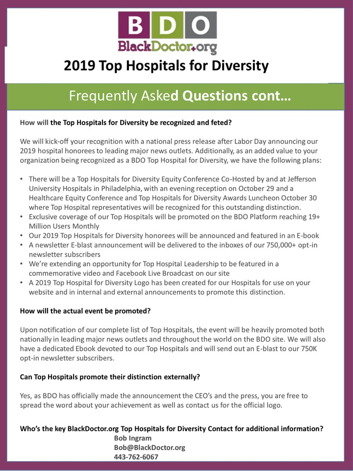 BDO Top Hospitals for Diversity & Inclusion 2019/20 Tickets