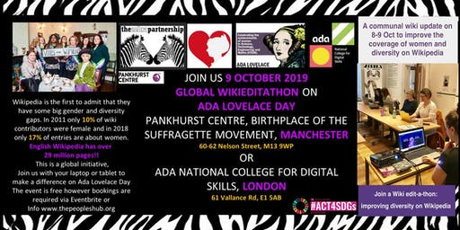 Global Wikipedia Edit-a-Thon (#Wikieditathon) 2019 Manchester and London 2019 - Zebra Hub HQ The Pankhurst Centre and Ada. National College for Digital Skills