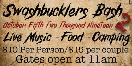 Swashbucklers Bash 2 tickets