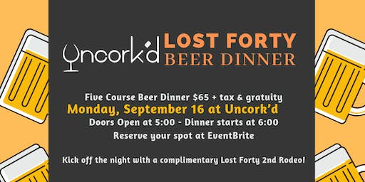 Lost Forty 5 Course Beer Dinner