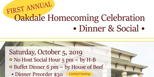 Oakdale Homecoming Celebration Dinner and Social