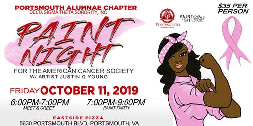 Portsmouth Alumnae Chapter of Delta Sigma Theta Sorority, Inc. presents...Paint Night for the American Cancer Society