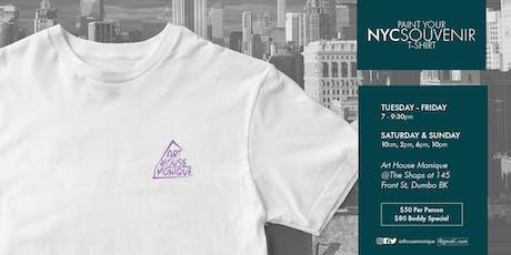 Sip & Paint NYC Souvenir T Shirt Saturday tickets