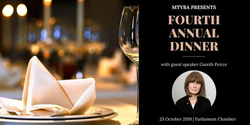 MTYBA's Fourth Annual Dinner with guest speaker Gareth Peirce