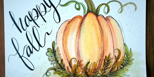 Watercolor/Ink/Lettering Pumpkin Workshop