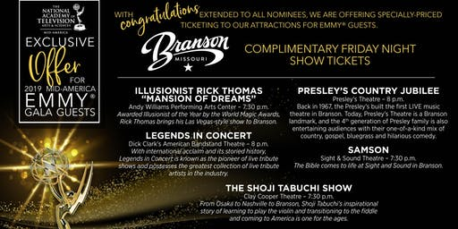 NATAS Mid-America EMMY Gala Weekend: FRIDAY NIGHT SHOWS in BRANSON