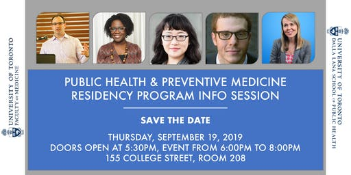 Public Health & Preventive Medicine Residency Info Session - September 19, 2019