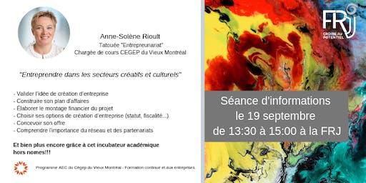 """Séance d'information """"Entreprendre dans les secteurs créatifs et culturels"""""""