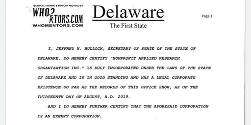 Start a Delaware Charitable Nonstock Exempt Corporation and create iOS apps