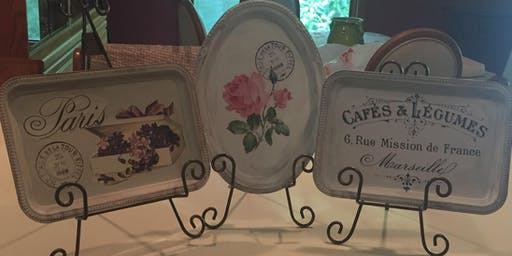 Chalk painted vintage tray trio painting party