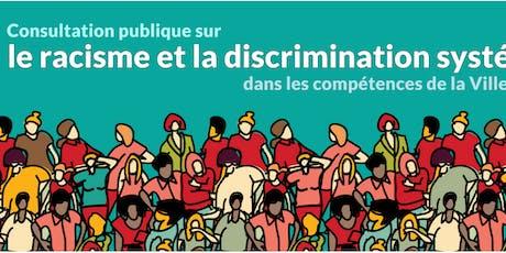 Activités contributives citoyennes sur le racisme et la discrimination systémiques billets