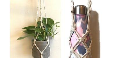 Macrame Plant Hanger or Macrame Bottle Holder / Vase Holder workshop
