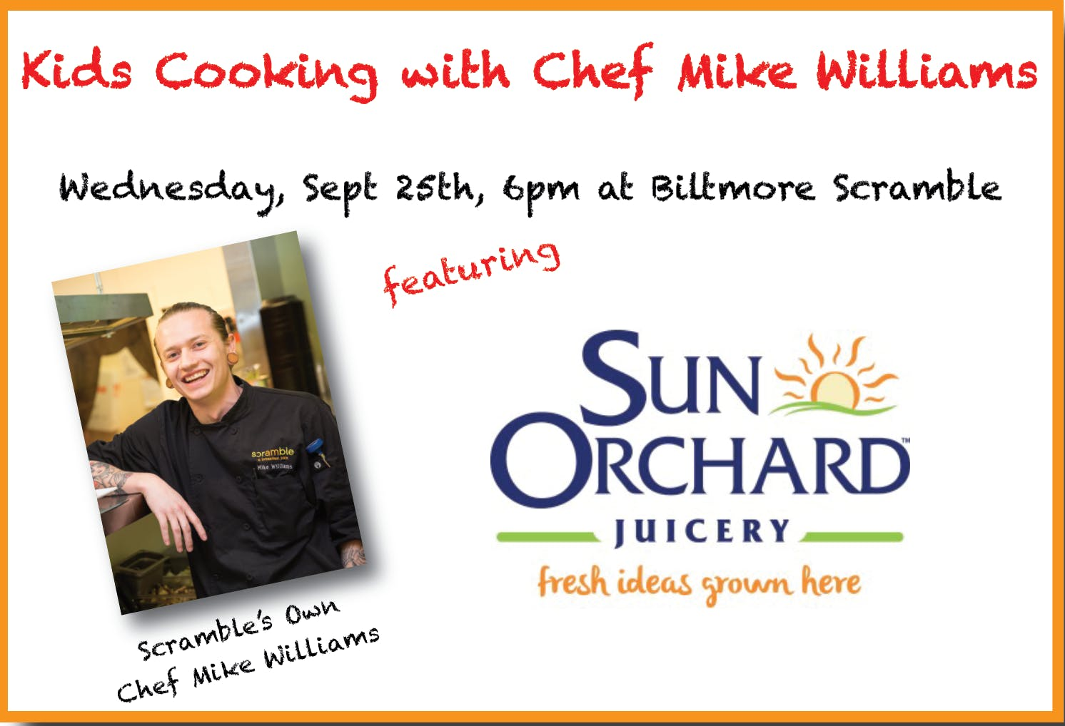 Sept 2019 Scramble Kid's Cooking Class with Chef Mike Williams