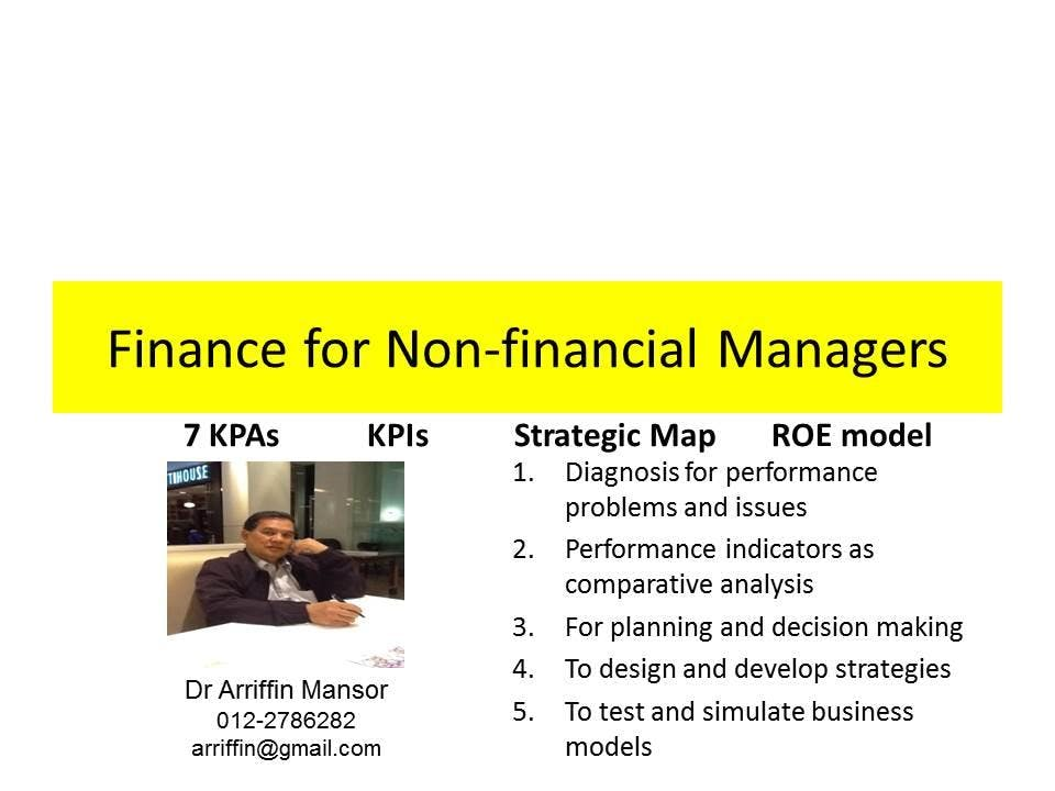 FINANCE for NON-FINANCIAL MANAGERS: using spreadsheet as an analytical tool