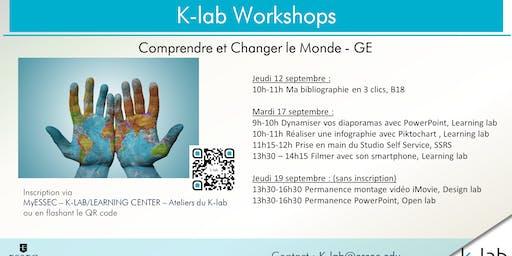 K-lab workshops - Réaliser une infographie avec Piktochart - Séminaire CCM GE