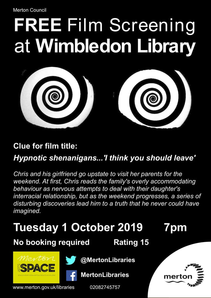 Free Film Screening at Merton Arts Space Tickets, Tue 1 Oct