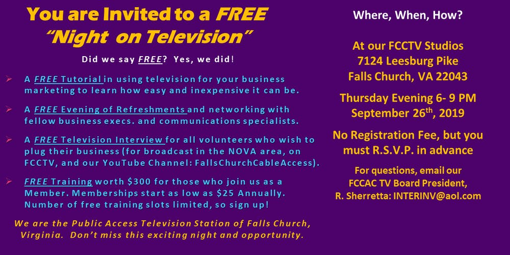 Falls Church City Public Access TV Open House Tickets, Thu