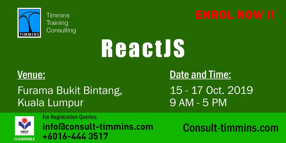React JS in Kuala Lumpur Tickets, Tue 15 Oct 2019 at 9:00 AM