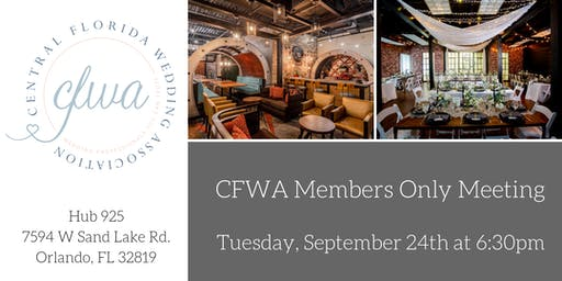 CFWA September MEMBERS ONLY Event at Hub925