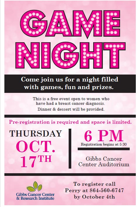 Gibbs Breast Cancer Survivor Game Night