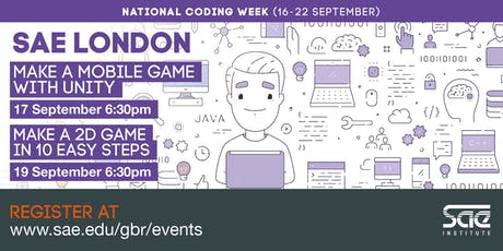 SAE London: Make a 2D Game in 10 Easy Steps tickets