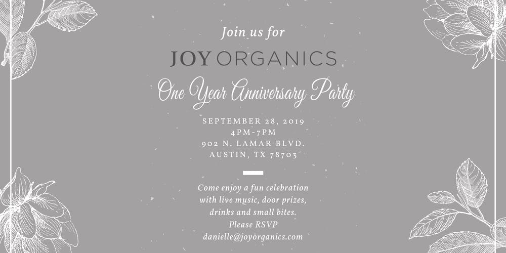 Joy Organics One Year Anniversary Party Tickets, Sat, Sep 28