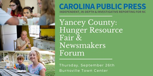 Yancey County Hunger Resource Fair & Newsmakers Forum