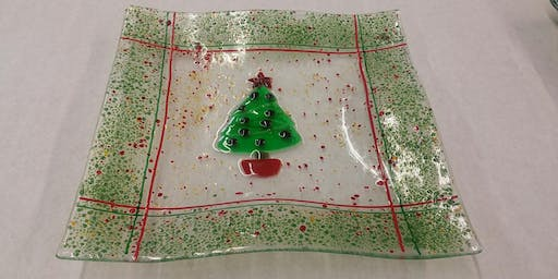 Fused Glass Holiday Plate