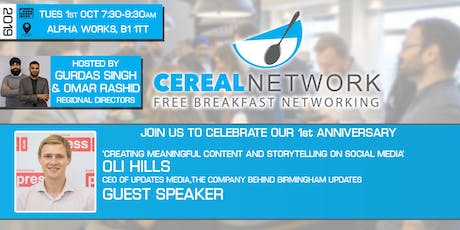 Cereal Network - Free Breakfast Networking Tues 1st Oct 2019 tickets