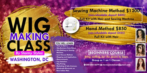 1 on 1 Wig Making Class - Sewing Machine & Hair Included