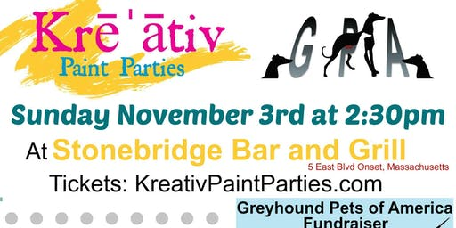 Greyhound Pets of America paint party fundraiser Sunday November 3rd