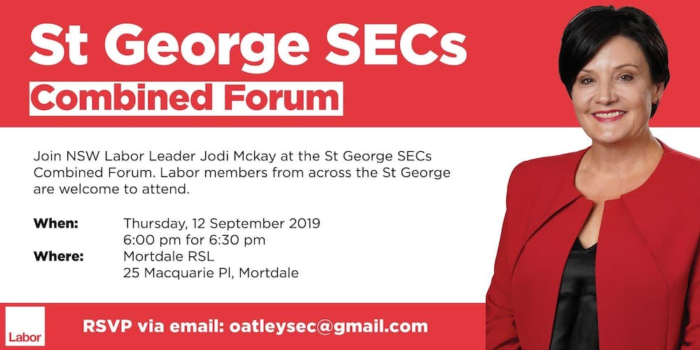 St George Forum with Jodi McKay MP, NSW Labor Leader Tickets
