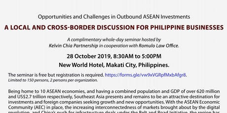 Complimentary Out-bound Investment Seminar hosted by KCP and Romulo Law tickets