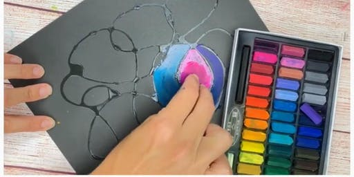 """Home School Art """"Glue Painting with Chalk"""""""