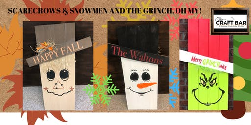 DOUBLE-SIDED SCARECROWS with a SNOWMAN OR THE GRINCH!