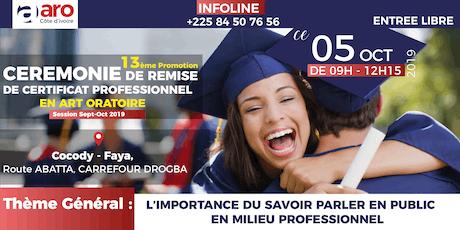 REMISE DE CERTIFICAT ART ORATOIRE (PORTES OUVERTES) tickets