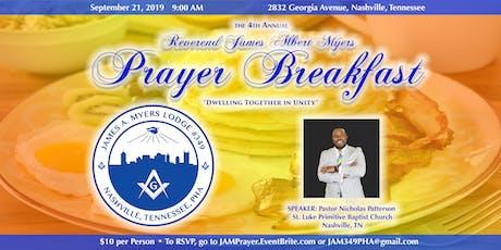 the 4th Annual Reverend James Albert Myers Prayer Breakfast tickets
