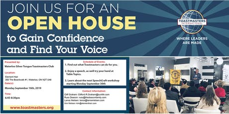 An Open House to the Waterloo Silver Tongue Toastmasters Club tickets