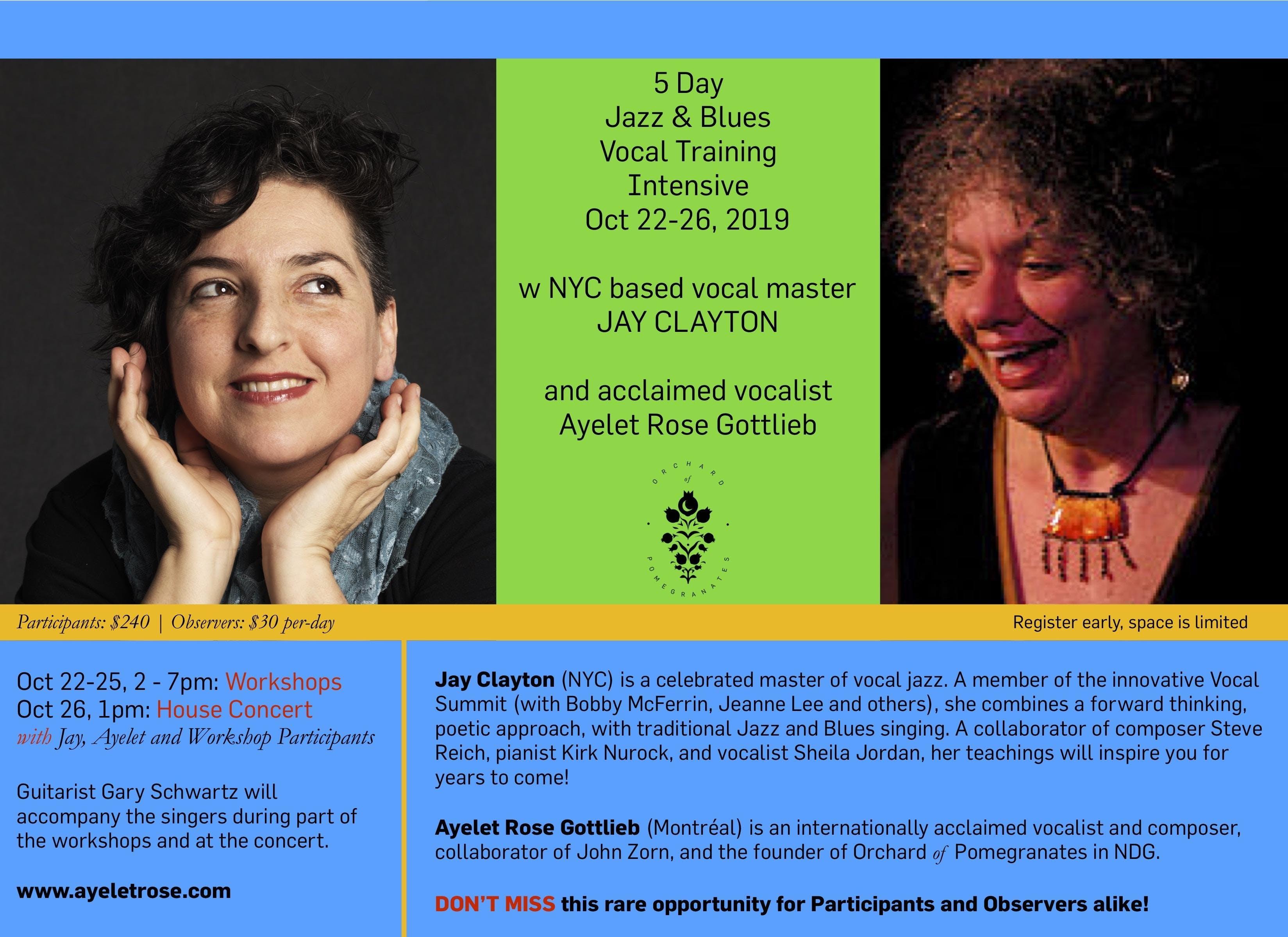 Jay Clayton & Ayelet Rose - Jazz and Blues Intensive!