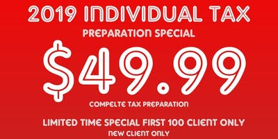 2019 Individual Income Tax New Client Special Complete Tax Preparation