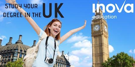 Estudia tu licenciatura en el Reino Unido (también en línea) boletos