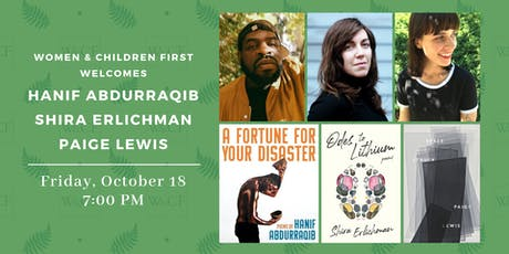 Poetry Reading: HANIF ABDURRAQIB, SHIRA ERLICHMAN, PAIGE LEWIS tickets