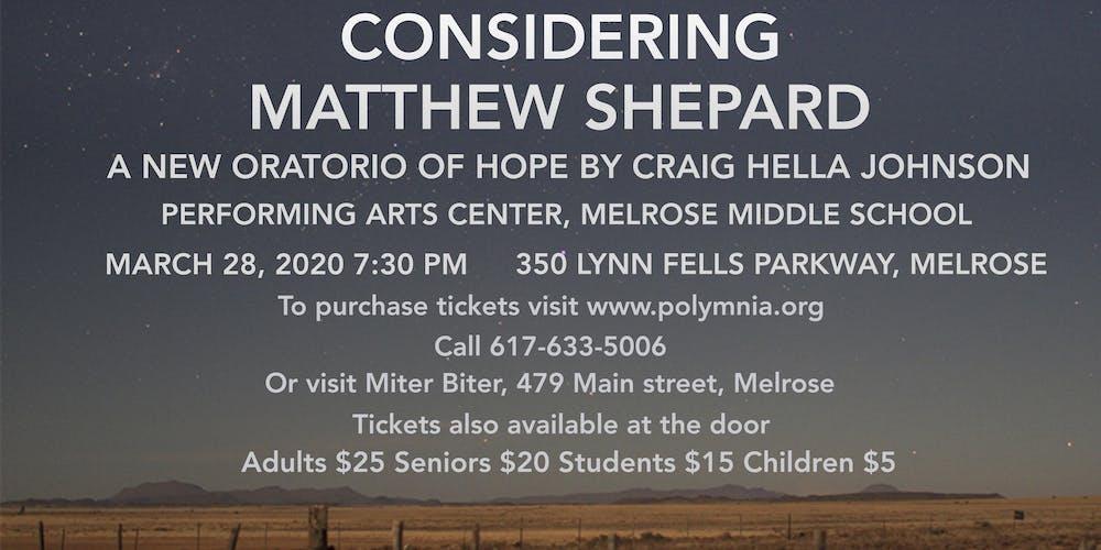 Considering Matthew Shepard Tickets, Sat, Mar 28, 2020 at 7
