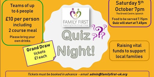 Quiz night -fundraising for Family First supporting families in Ipswich