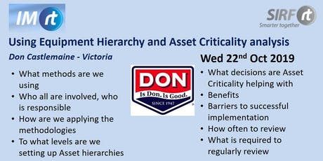 VICTAS Using Equipment Hierarchy and Asset Criticality analysis - Don Castlemaine tickets