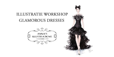 Workshop mode illustraties - thema glamorous dresses tickets