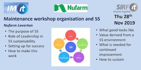 VICTAS Maintenance workshop organisation and 5S - Nufarm Laverton tickets