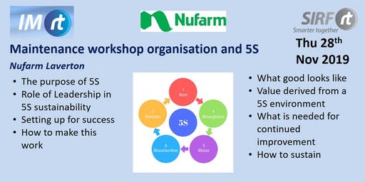 VICTAS Maintenance workshop organisation and 5S - Nufarm Laverton