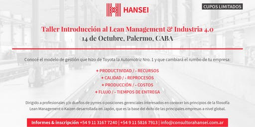 Taller Introductorio al Lean Management & Industrias 4.0.