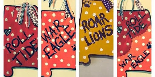 Roll Tide! War Eagle! Roar Lions! & House Divided State-Shaped Door Hangers